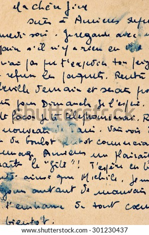 Old letter with vintage handwriting. Grunge manuscript background with french text. Aged paper texture - stock photo
