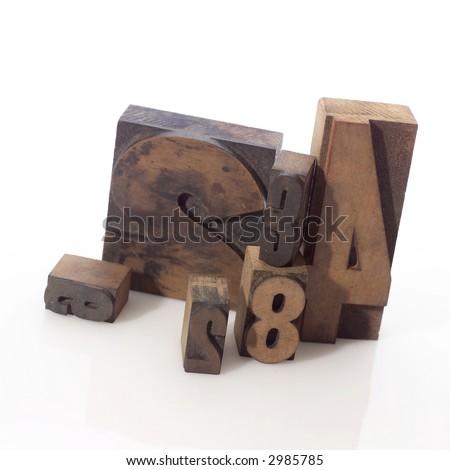 Old letterpress wood type - stock photo