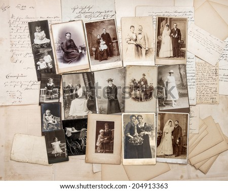 old letters and antique family photos. original vintage pictures from ca. 1900 - stock photo