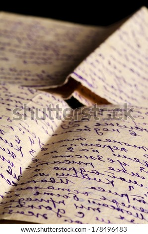 Old letters as a background close up - stock photo