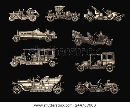 Old Light Brown Retro cars - stock photo