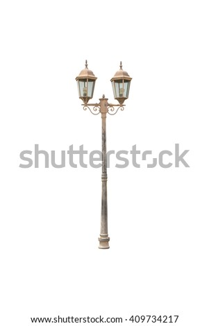Old Light pole isolated on white blackgroud - stock photo