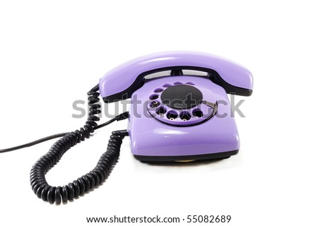 Old Lilac phone isolated on white background - stock photo