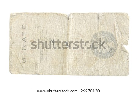 Old Lire bills from Italy isolated on white. - stock photo