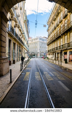 Old Lisbon street, Portugal - stock photo