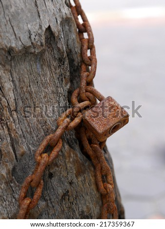Old Lock and chain - stock photo