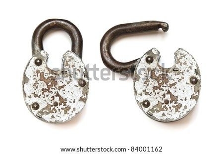 Old lock isolated on white background. Open and close states - stock photo