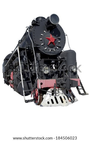 old locomotive in perspective for design - stock photo