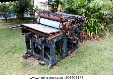 old machine for printing - stock photo