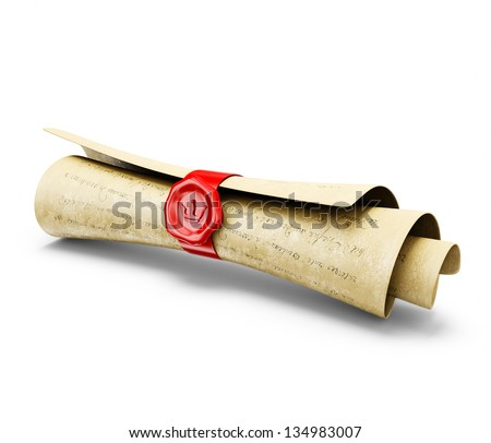 old mail isolated on a white background - stock photo