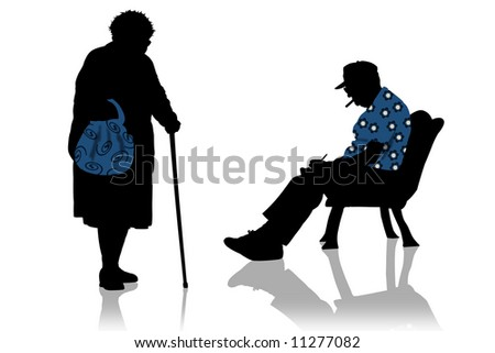 Old man and old woman - stock photo