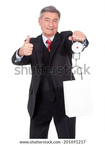 old man balance - stock photo
