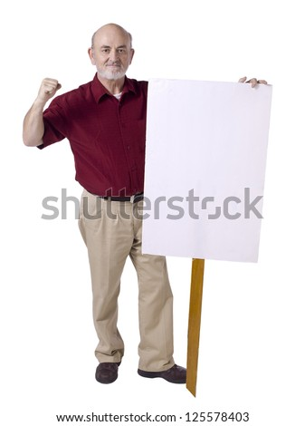 Old man holding a white banner with close fist, protest concept - stock photo