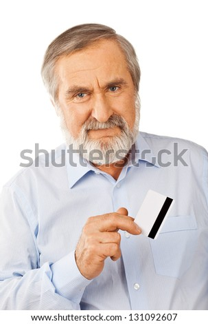 Old man holding up a cash card Isolated on white background - stock photo