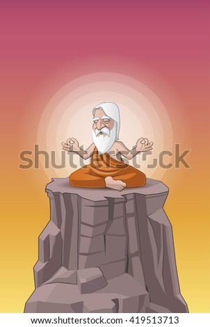 Old man meditating on the hill - stock photo