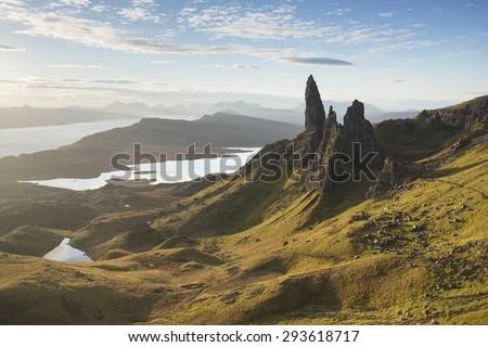 old man of storr on isle of skye, scotland - stock photo