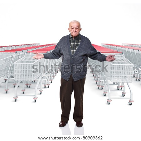 old man open arms and 3d trolley cart background - stock photo
