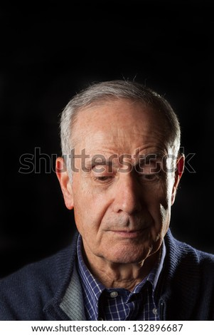 Old man with a sad expression - stock photo