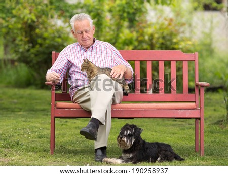 Old man with cat in lap and dog beside him - stock photo