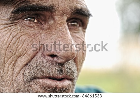 Old man with moustaches and beard - stock photo