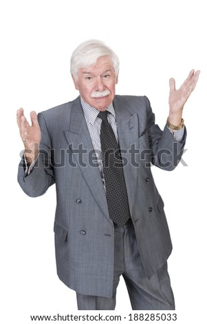 old man with open hands looking at the camera with raised eyebrows - stock photo