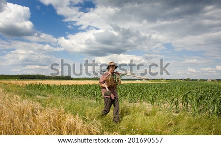 Old man with spring onion in knitted basket walking in field - stock photo