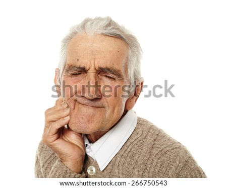 Old man with teeth ache isolated on white background - stock photo