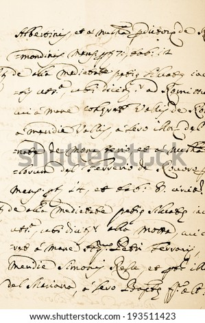 old manuscript on old dirty paper - stock photo