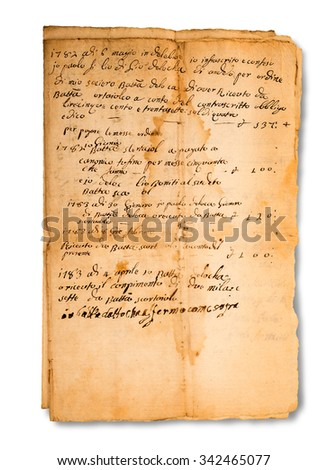 old manuscripts isolated on white background - stock photo