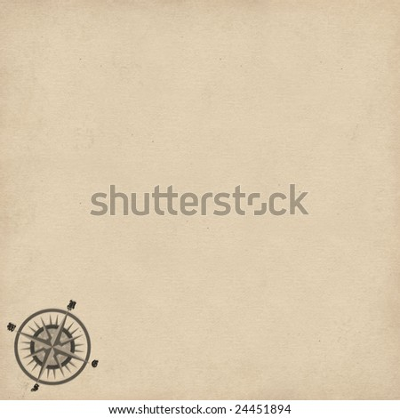 old map background with compass rose - stock photo