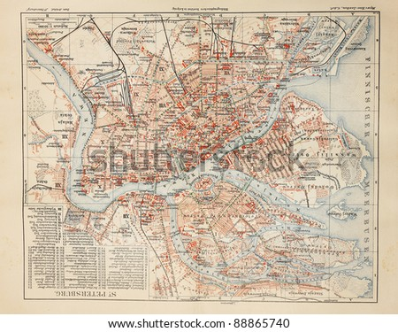 Old map from the end of 19th century of  Saint Petersburg. Picture from the original  Meyers Lexicon (written  German language) book edition 1908. - stock photo