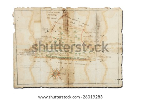 Old map from the 18th century - stock photo