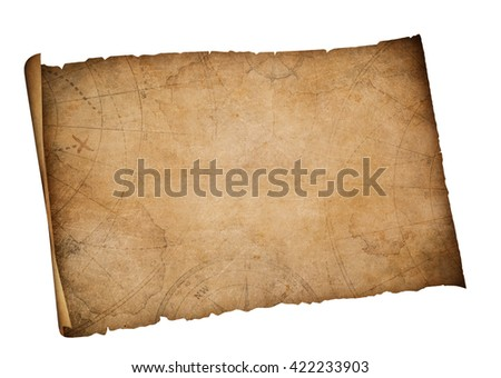 old map isolated with clipping path included - stock photo