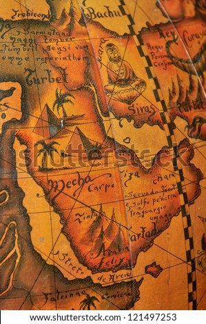 Old map of Arab countries, middle East - stock photo