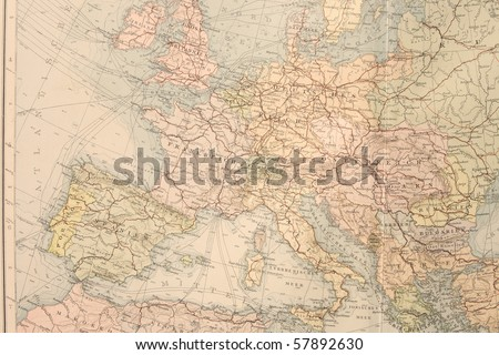 Old map of Europe. Names in German. - stock photo