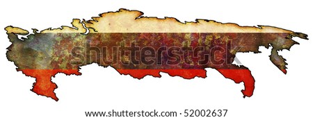 old map of russia with flag on country territory - stock photo