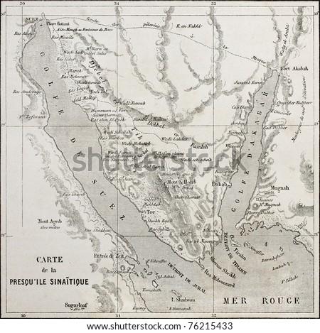Old map of Sinai peninsula. Created by Erhard,  published on Le Tour du Monde, Paris, 1864 - stock photo