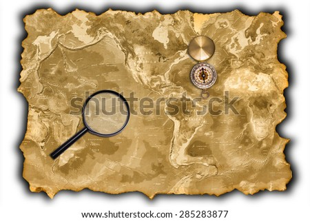Old Map of the World isolated on white - stock photo