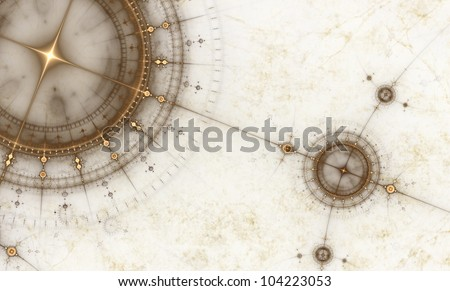 Old map with compass, abstract illustration of ancient nautical chart, - stock photo
