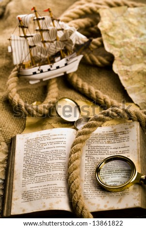 Old map with ship - stock photo