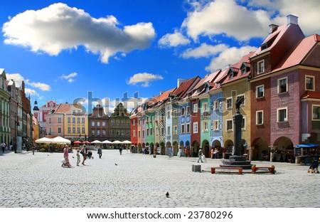 Old- market Poznan -Poland - stock photo