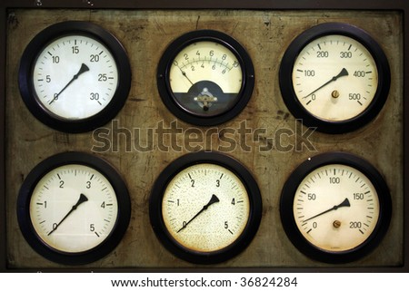 old measurement with six instruments in retro style - stock photo