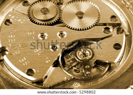 old mechanic watch close-up shot - stock photo