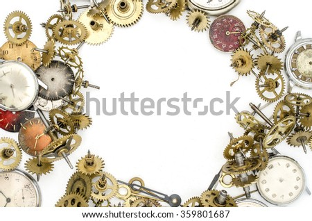 old mechanical clock and details - stock photo