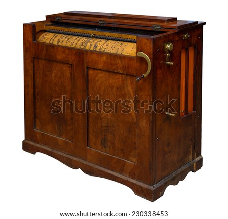 "old mechanical organ Brugger year of manufacture - ""1880"" - stock photo"