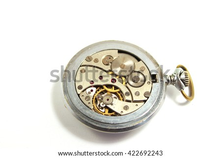 Old mechanical watch on white background. Isolated. - stock photo