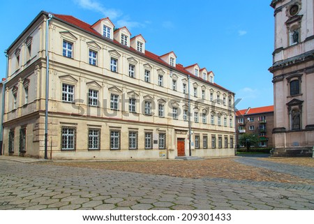 old medieval building in Nysa, Poland - stock photo
