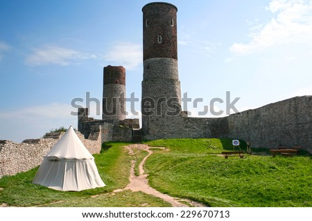 Old, medieval castle in Checiny. Three towers. Poland. - stock photo