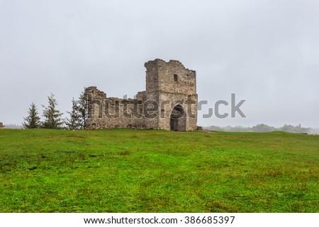 old medieval castle ruin, ukraine kremenets - stock photo
