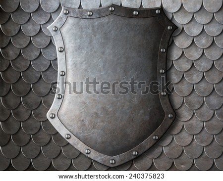 old medieval coat of arms shield over scales armour background - stock photo